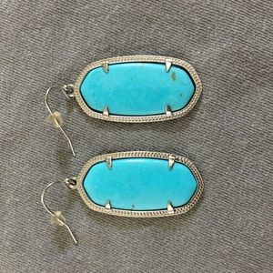 Kendra Scott Elle Silver Drop Earrings Turquoise
